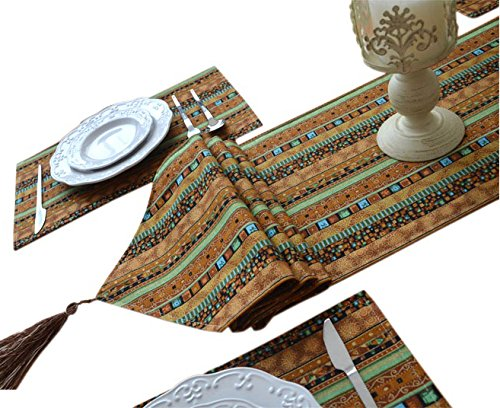 Yoovi Reversible 1pc Table Runner and 6pcs Matching Placemat