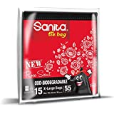 Sanita Tie Bags 55 Gallon Rose Scent, 15 Bags, Oxo-Biodegradable, Black