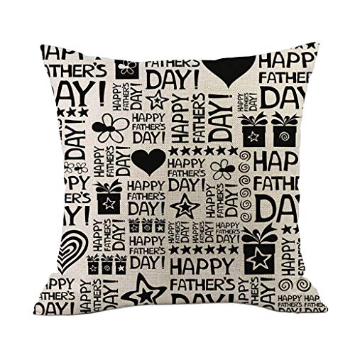 Weiliru Father's Day Cotton Linen Throw Pillow Case Feathers Print Square Cushion Cover 18 X 18 Inch Pillow,Best Father Lovely Father