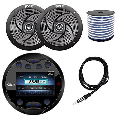 Lanzar AQR80B Round Aquatic Waterproof Marine Stereo in Dash Bluetooth Receiver - Black, 2X Pyle PLMRS6B 6.5