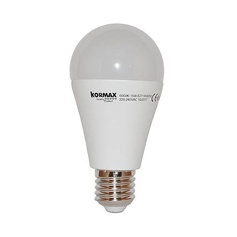 Kormax Bombilla LED Luz Fría E27, 15 W, Blanco