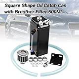 Ruien Oil Catch Can Square Shape Aluminum Reservoir with Breather Filter 500ML Black