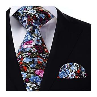 HISDERN Men's Neckties Floral Cotton Neck Tie Floral Wedding Tie Slim Men's Ties Flower Neck Tie & Pocket Square Set Skinny Narrow Ties