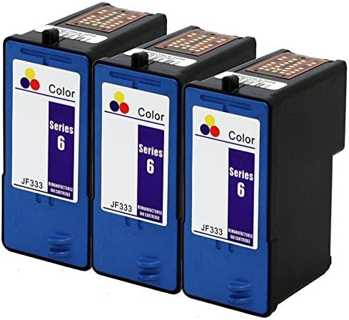 Axiom 3PK Remanufactured Dell Series 6 JF333 Color Ink Cartridge For Dell 810 725 Printer