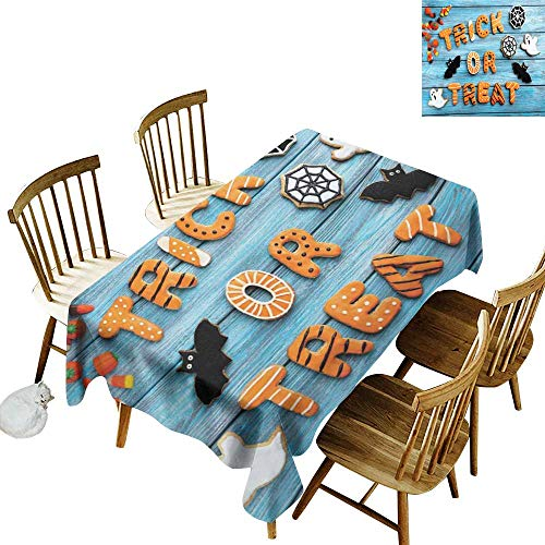 W Machine Sky Stain-Resistant Tablecloth Vintage Halloween Trick or Treat Cookie Wooden Table Ghost Bat Web Halloween W70 xL90 for Family Dinners,Parties,Everyday -