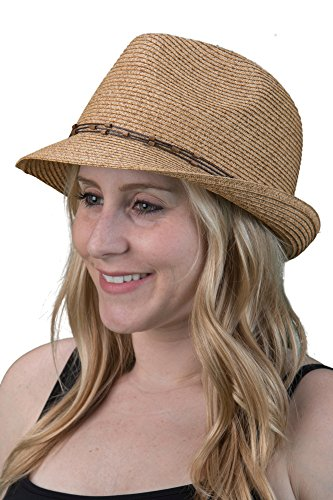 H-6108-50332 Fedora - Natural Multi w/ Beaded Ropes by Funky Junque (Image #1)