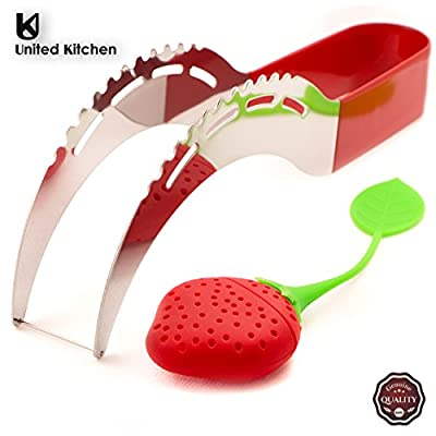 Hot Sale! ★ Premium Watermelon Slicer ★ New Release by United Kitchen® ★ GIFT BOX Summer Kit ★ BONUS Ice Tea Infuser ★ American Stainless Steel ★ Dishwasher SAFE ★ Rubber Grip Handle ★ KID FRIENDLY ★