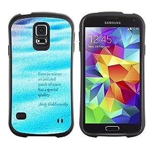 All-Round híbrido de goma duro caso cubierta protectora Accesorio Generación-I BY RAYDREAMMM - Samsung Galaxy S5 SM-G900 - Waves Sea Ocean Surf Quote Water Blue