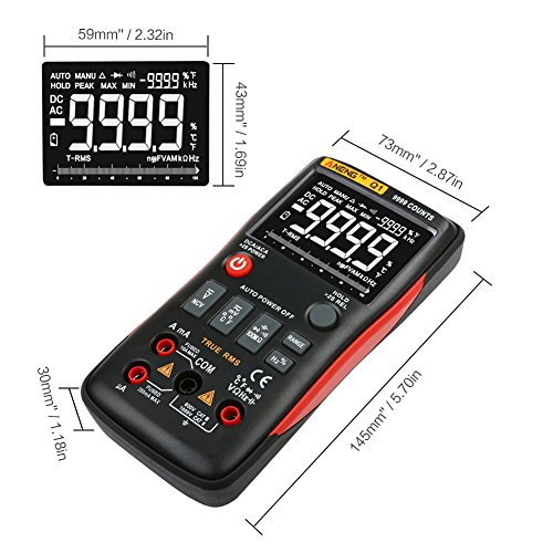 Widewing ANENG Q1 True-RMS Digital Multimeter Button 9999 Counts with Analog Bar