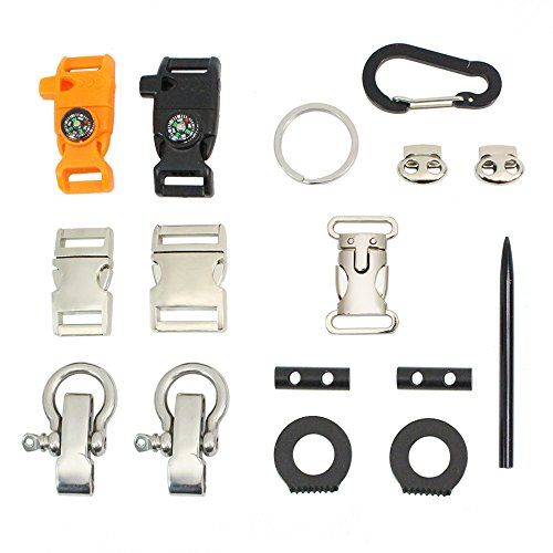 PSKOOK 550 Paracord Buckles Metal Side Release Whistle Compass Buckles Outdoor Ferro Rod Flint and Steel Scraper Carabiner O Shackles Needle/FID Toggle O Ring 16-Piece -