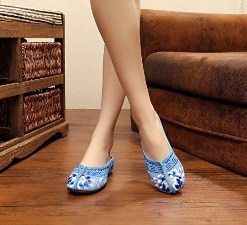 Sandali Infelici Blu Con Fiore Ricamato Da Donna