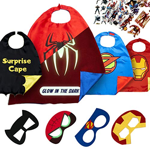 Superhero Capes for Kids Toys - Dress Up Clothes for Boys and Girls - Super Hero Party Supplies Birthday (4 Pack Spider) ()