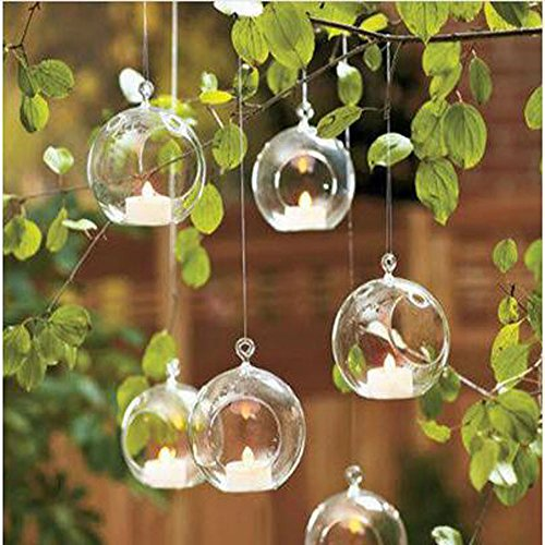 Diy Flower Vase (18pcs Small Ball Globe Shape Clear Transparent Hanging Glass Vase Flower Plants Terrarium Vase Container DIY Wedding Home Decoration)