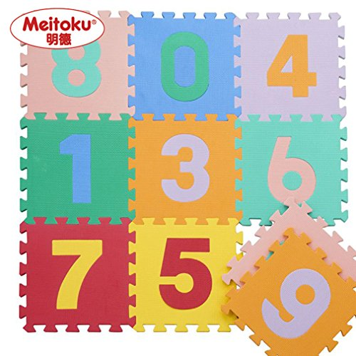 "Meitoku Soft Kid's EVA Foam Puzzle Play Mat / Interlocking Tiles Floor Mat with Number 30cmX30cm(12""X12"")3/8""Thick by Meitoku"