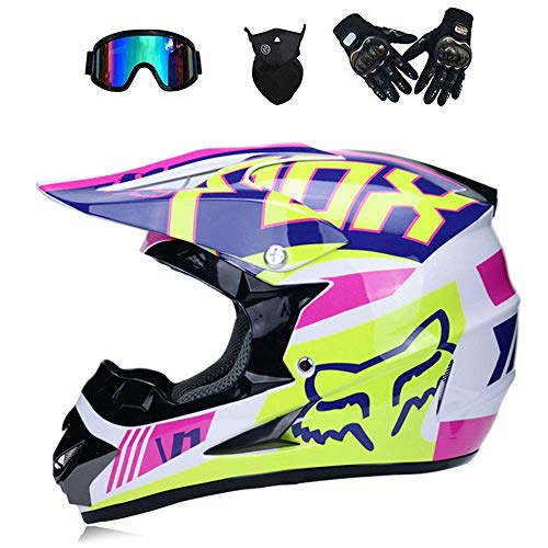 (LLQ Adult Motorbike Helmets Road Racing MX Helmet Dual Sport Off Motocross Locomotive Karting ATV Motorcycle Headguard Included Mask Gloves Goggles(S,M,L,XL) (Pink, S))