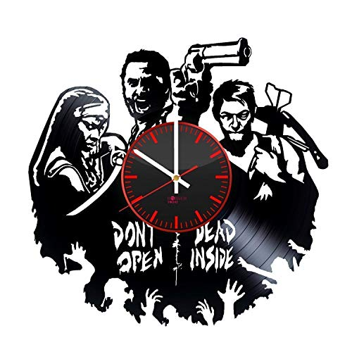 - Walking Dead HANDMADE Vinyl Record Wall Clock - Get unique living room wall decor - Gift ideas for adults and youth – Horror Movie Characters Unique Modern Art