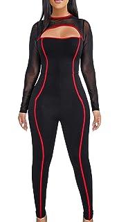 7f5c348d9b29 YIQ8 Women s Sexy Deep V Neck Zipper Front Jumpsuit Casual Slim Fit Romper  Stretchy Pants