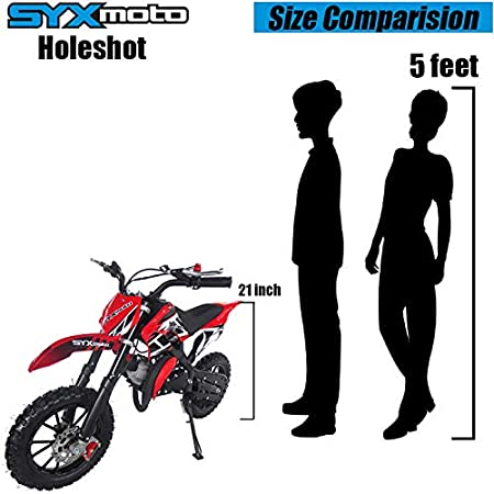 Black Fully Automatic Transmission SYX MOTO Kids Mini Dirt Bike Gas Power 2-Stroke 50cc Motorcycle Holeshot Off Road Motorcycle Holeshot Pit Bike