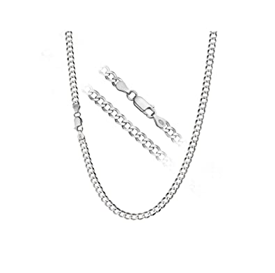 """Designer Inspired Curb Necklace Chain 4mm Sterling Silver 925 Plated in  Sizes 16"""" 18"""""""