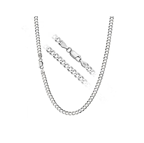 """e7a74d197 Designer Inspired 4mm Silver Curb Chain Necklace Sterling 925 16""""  18"""" 20"""" 22"""""""