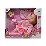 """16"""" Little Princess Baby Doll With Adorable Outfit, Bib and Baby Bottle, Super Cute Doll Plays 3 Different Baby Sounds"""
