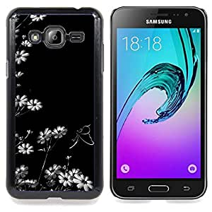 Qstar Arte & diseño plástico duro Fundas Cover Cubre Hard Case Cover para Samsung Galaxy J3(2016) J320F J320P J320M J320Y (Fleurs blanc Fond d'écran Nature Blooming Art)