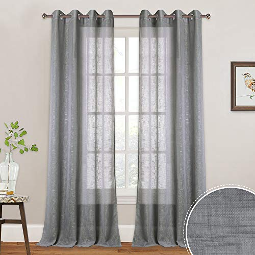 RYB HOME Extra Long Sheer Curtains with Linen Texture Casual Wave Pattern, American Country Style Curtains for Farmhouse/Patio Sliding Glass Door/French Door, 52 inch x 95 inch, 2 Pcs, Grey