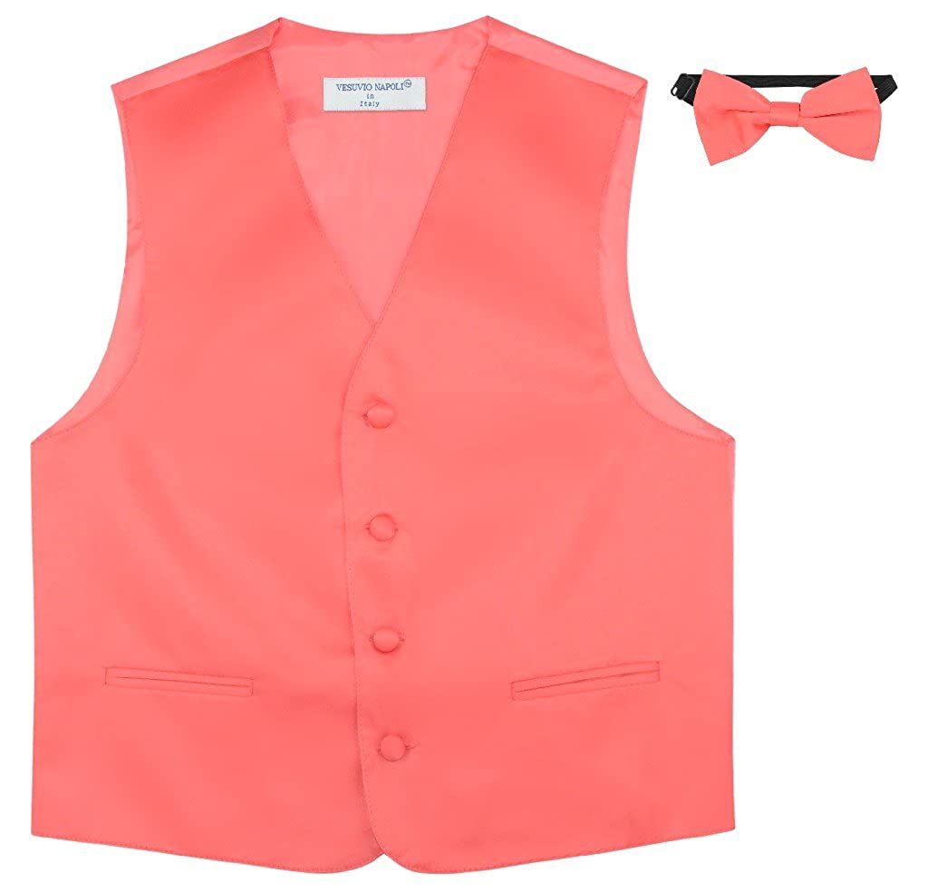 BOYS Dress Vest /& BOW Tie Solid CORAL PINK Color BowTie Set