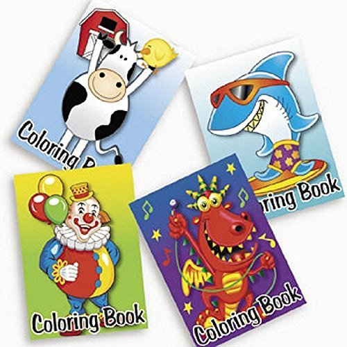 72 ~ Colorings Books ~ 5 X 7 / 6 Page ~ New ~ Cow, Shark, Clown by FX