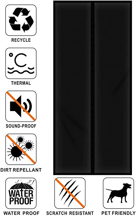 Liveinu Isolant Thermique Isolation Porte Avec Magn/étique Moustiquaire Rideau De Porte Isolant Coton Rideau doccultation Coupe-vent Imperm/éable Isolation Phonique 90x210cm Noir