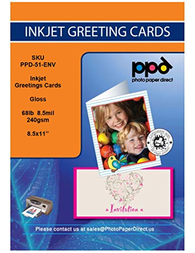 """PPD Inkjet Glossy Printable Greeting Cards LTR 8.5 x 11"""" 64lbs. 240gsm 10.9mil With Envelopes x 50 Sheets (PPD051-ENV-50)"""