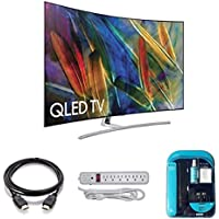 Electronics QN65Q7C Curved 65-Inch 4K Ultra HD Smart QLED TV (2017 Model) - Bundle , 4K HDMI 2.0 Cable, Surge Protector, Cleaning Cloth