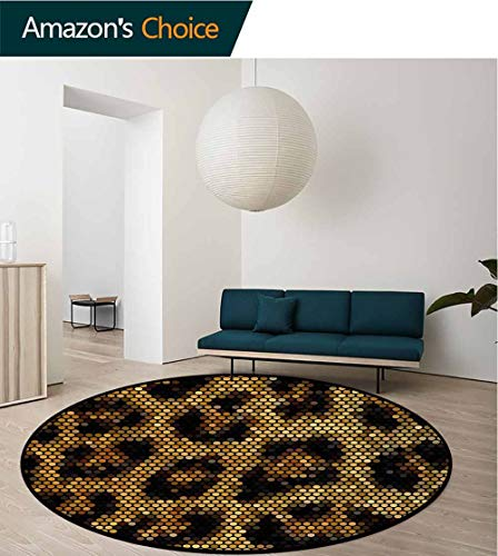 (RUGSMAT Non-Slip Area Rug Pad Round,Oriental Scroll with Swirling Leaves with Eastern Design Inspirations,Protect Floors While Securing Rug Making Vacuuming Round-39 Inch Beige Tan Slate Blue)