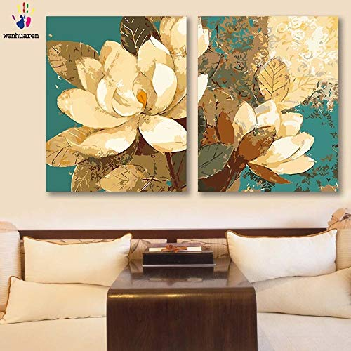 40x50 with frame 9213 left and right KYKDY DIY colorings Pictures by Numbers with colors Magnolia Picture Drawing Painting by Numbers Framed Home Decor Two Pieces,9213left,60x75 no Frame