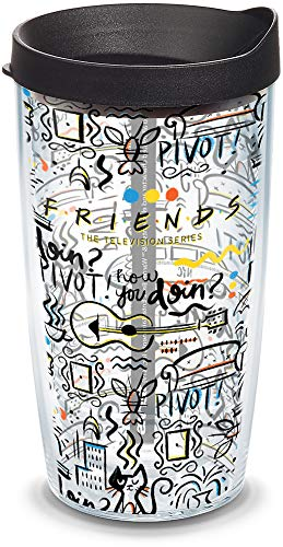 Tervis 1334012 Warner Brothers - Friends Pattern Insulated Travel Tumbler & Lid, 16 oz, Clear