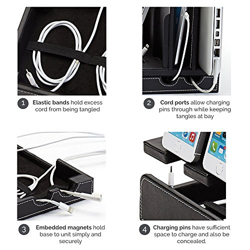 G.U.S. Multi-Device Charging Station Dock & Organizer - Multiple Finishes Available. For Laptops, Tablets, and Phones - Strong Build, Black Leatherette