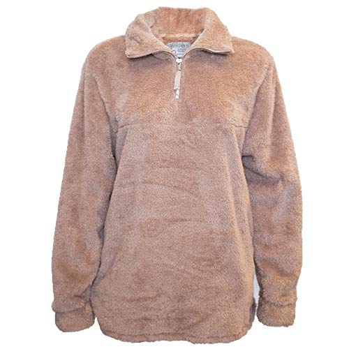 Islanders Comfy Sherpa 1/4 Zip with Pockets Pullover Jacket, Brown, Large ()