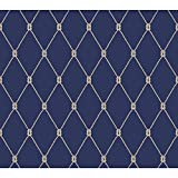 York Wallcoverings NY4847 Nautical Living Knot Trellis Wallpaper, Marine Blue/White/Taupe