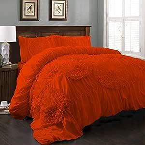 Brightlinen Orange Emperor (215 X 215 Cm) Flower Ruffle Duvet Set Solid 3pcs