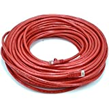 Monoprice 100-Feet 24AWG Cat5e 350MHz UTP Bare Copper Ethernet Network Cable, Red (102166)