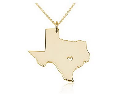 State Necklace Texas State Charm Necklace 18k Gold Plated State Necklace  with a Heart