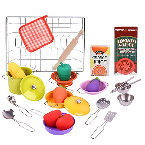 Toytree Learning Resources Play Food for Kids Kitchen Accessories for Toddlers Miniature Stainless Steel Pots and Pans Set (24 Pcs) Educational Pretend Cooking Toy for Children -