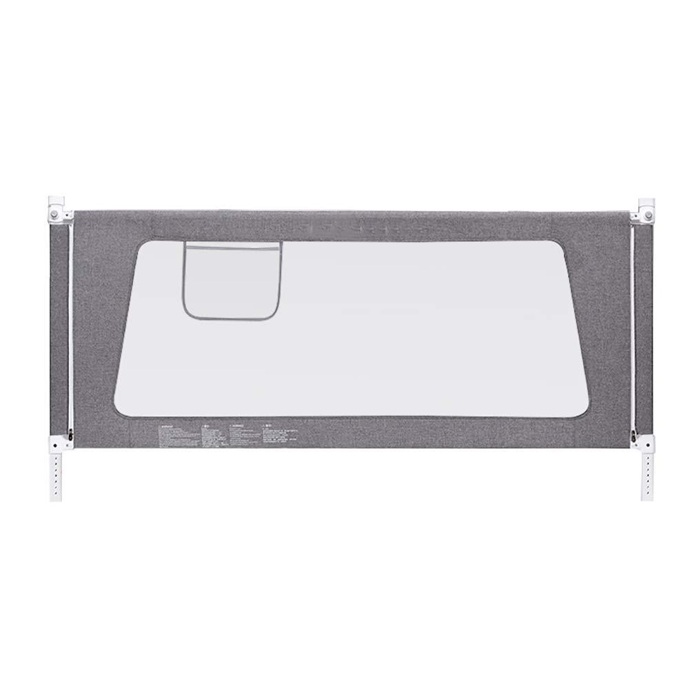ベッドフェンス 収納用ポケットと高さ調整可能な折り畳み式ベッドレール付きベッドフェンスユニバーサルベッドレール、グレー (色 : Length 220cm)  Length 220cm B07JMWC59X