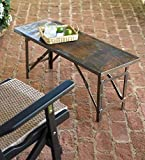 Plow & Hearth Indoor/Outdoor Folding Metal Table/Bench - 37 L x 13.75 W x 15 H