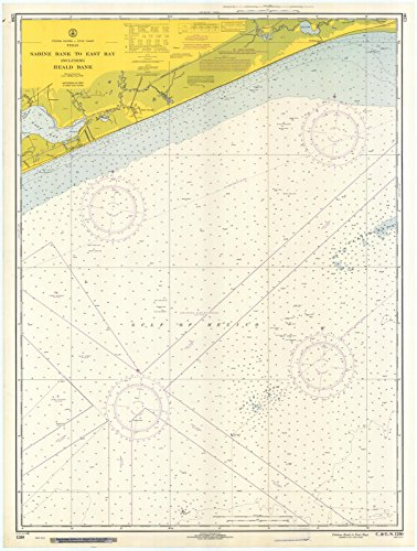 East Tx Chart (1968 Nautical Chart | Historical Sabine Bank To East Bay | TX Vintage Map Fine Art Reproduction Print)