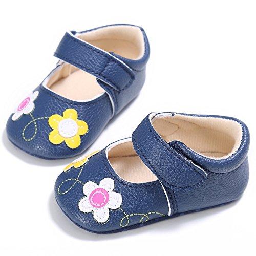 BOBORA Ninos Ninas Princesa Zapatos Prewalker Flores Zapatos De Bebe azul