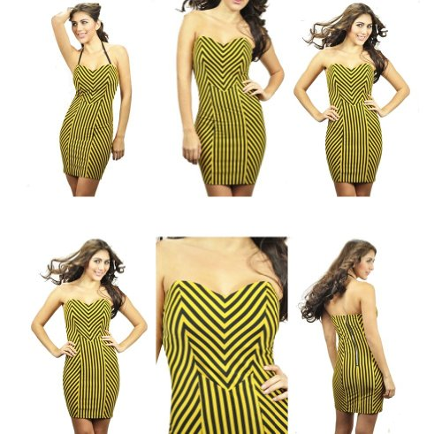 Rocker Chick - Carmin Rocker Chick Striped Short Dress Yellow Black Stretchy Womens Sizes: Large