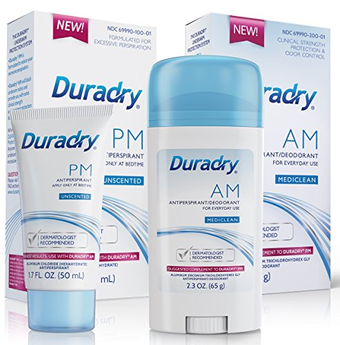 Duradry Protection System - Prescription strength antiperspirant deodorant. Specially formulated for excessive sweating or hyperhidrosis. Men & Women. FDA-Compliant formula. Made in USA