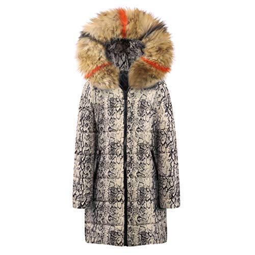 Lookatool LLC Womens Winter Long Down Cotton Snake Print Parka Hooded Coat Jacket Outwear ()