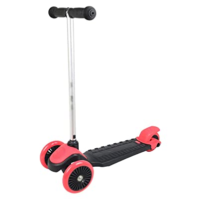 Kids 3-Wheeled Scooter with Sturdy Handlebars and Working Brake (Black/red) : Sports & Outdoors